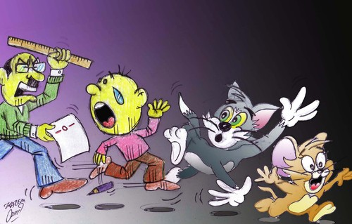 Cartoon: tom jerry teacher (medium) by Hossein Kazem tagged tom,jerry,teacher