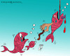 Cartoon: fish (small) by Hossein Kazem tagged fish