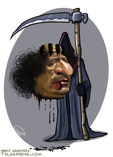 Cartoon: Gaddafi was killed (medium) by goodarzi tagged gaddafi,killed,abbas,goodarzi,death,zrayyl,dos,blood,head,language,libya,revolution,murder