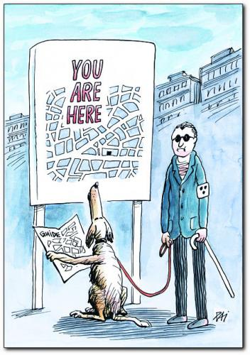 Cartoon: guide (medium) by penapai tagged blind,dog,stadt,tourist,blinder,tier,hund,behinderung,sehvermögen,sinne,sehen,stadtplan,stadtführer,orientierung,blindenhund,hilfe