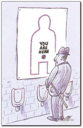 Cartoon: information (medium) by penapai tagged toilet,,toilette,bad,badezimmer waschraum,klo,wc,pinkeln,urinieren,geschäft,mann,orientierung,stadtplan,zielen,treffen