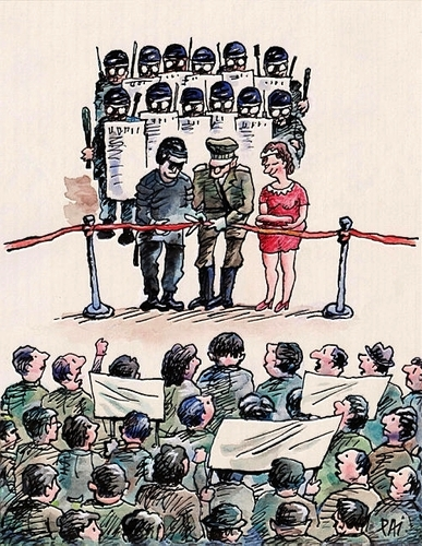 Cartoon: opening ceremony (medium) by penapai tagged opening,police