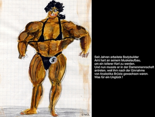 Cartoon: Arnis Unglück (medium) by Mol tagged bodybuilding,muskelaufbau,sport,body