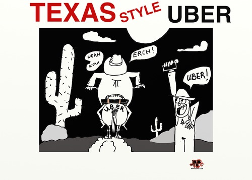 Cartoon: Uber in Texas (medium) by tonyp tagged arp,uber,texas,style,cab