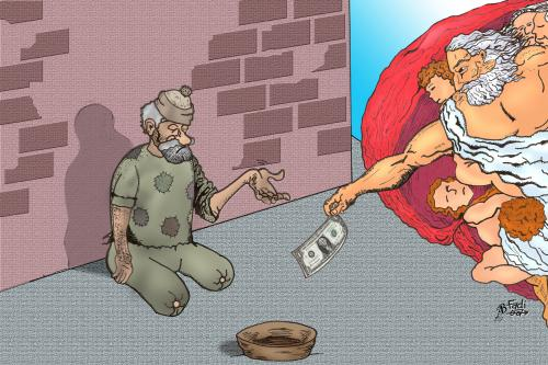 Cartoon: Donation (medium) by Fadi tagged poverty,third,world,hunger,dollar,god,religion