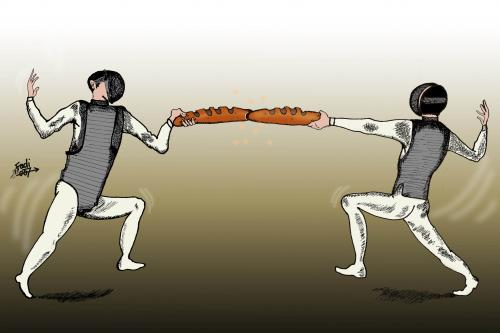 Cartoon: Fighters (medium) by Fadi tagged poverty,third,world,hunger