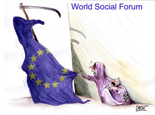 Cartoon: World Social Forum (medium) by Carlos Augusto tagged poverty,third,world,hunger,social,forum,europe