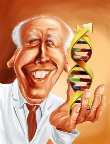 Cartoon: J. D. Watson (medium) by William Medeiros tagged medicine,science,scientist,dna,caricature,