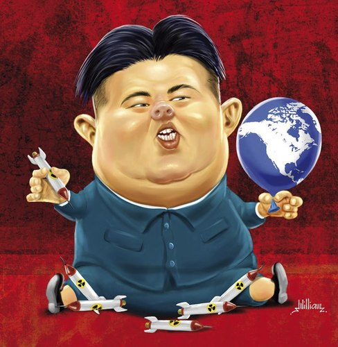 Cartoon: Kim Jong-un (medium) by William Medeiros tagged political,korea,war,nuclear,atomic,dictator