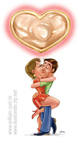 Cartoon: Love is... to prevent! (medium) by William Medeiros tagged love,kiss,siada,aids,condom