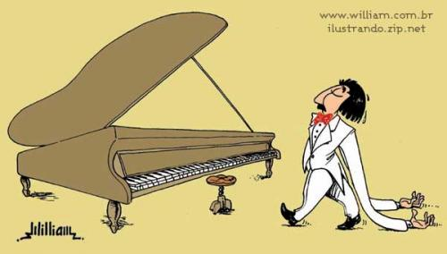 Cartoon: Pianist (medium) by William Medeiros tagged pianist,piano,concert,