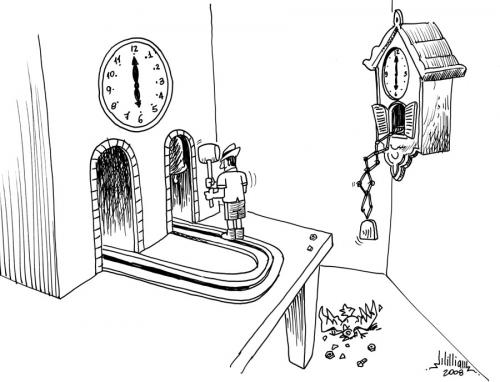 Cartoon: Shut up! (medium) by William Medeiros tagged cuco,watch,bird,time,clock