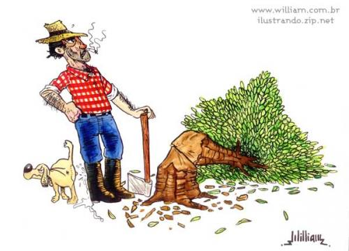 Cartoon: The revenge of nature (medium) by William Medeiros tagged nature,dog,woodcutter,tree,deforestation,