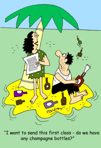 Cartoon: Champagne life style. (medium) by daveparker tagged desert,island,champagne,messages,in,bottles,