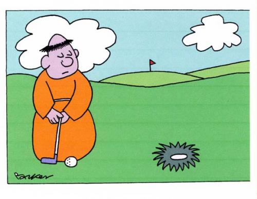 Cartoon: Golfing monk. (medium) by daveparker tagged monk,golf,tonsure,shaped,hole,