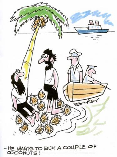 Cartoon: He wants to buy a couple of coco (medium) by daveparker tagged desert,island