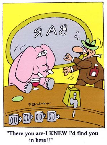 Cartoon: pink elephant (medium) by daveparker tagged pink,elephant,bar,drunk,