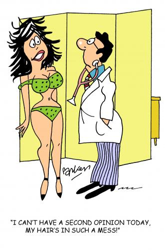Cartoon: Second opinion (medium) by daveparker tagged female,patient,doctor,no,second,opinion