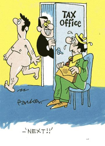 Cartoon: Tax office blues. (medium) by daveparker tagged tax,office,naked,man,