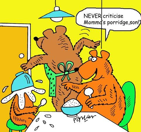 Cartoon: Three bears breakfast (medium) by daveparker tagged three,bears,porridge,upset,mother,bear
