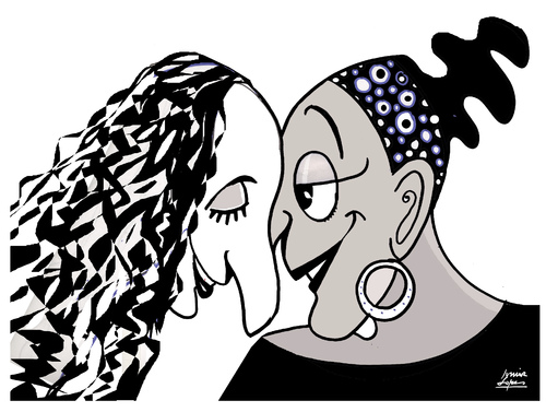 Cartoon: MariaBetania and Omara Portuondo (medium) by juniorlopes tagged bethania,omara,portuondo,bethania,omara,portuondo