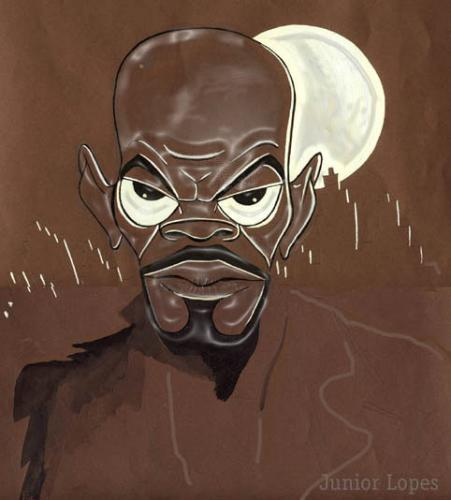 Cartoon: Samuel L Jackson (medium) by juniorlopes tagged caricature,movie,samuel l jackson,hollywood,traumfabrik,karikatur,illustration,schauspieler,star,black panther,black muslim,kkk,rassismus,action,abenteuer,scifi,film,fernsehen,kino,toleranz,ghetto,rap,gangster