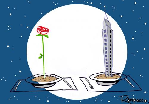 Cartoon: Dinner (medium) by Marcelo Rampazzo tagged dinner,essen,abendessen,romantik,romantisch,blume,hochhaus,wolkenkratzer,natur,vegetation,teller,wachsen,paar,pärchen,mann,frau,geschlechter,beziehung,nacht,mond,rendevous