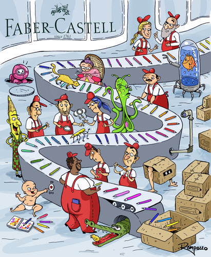 Cartoon: Faber Castell (medium) by Marcelo Rampazzo tagged faber,castell,faber,castell