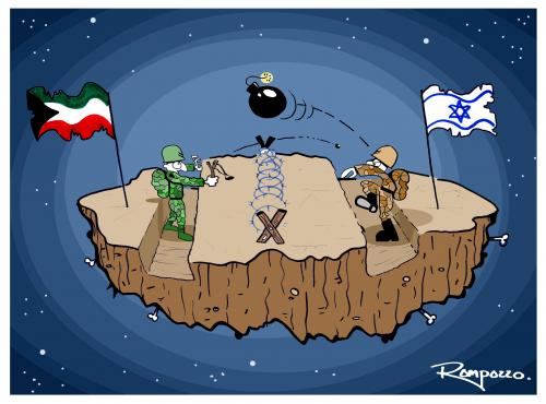 Cartoon: Gaza (medium) by Marcelo Rampazzo tagged gaza,,gazastreifen,gaza,feinde,feindschaft,krieg,autonomiegebiet,gebiet,palästina,grenze,weltraum,weltall,universum,bombe,gewalt,fahne,israel,flagge