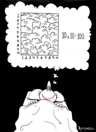Cartoon: sleeping (medium) by Marcelo Rampazzo tagged sleep,,schlafen,träumen,einschlafen,bett,schafe,zählen,methode,strategie,rechnen,mathe,zahlen