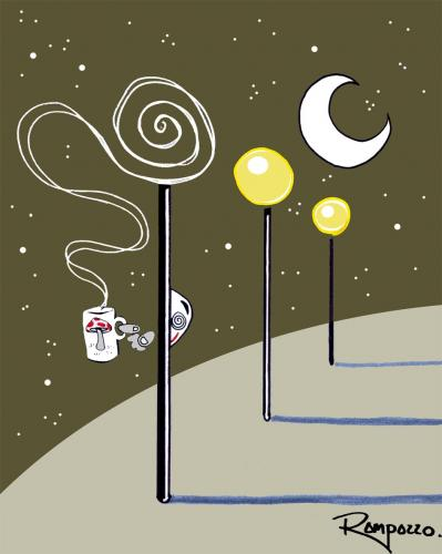 Cartoon: Tea (medium) by Marcelo Rampazzo tagged tea,,laterne,nacht,stadt,tee,getränk,trinken,bizarr,dampf,licht,lampe,mond
