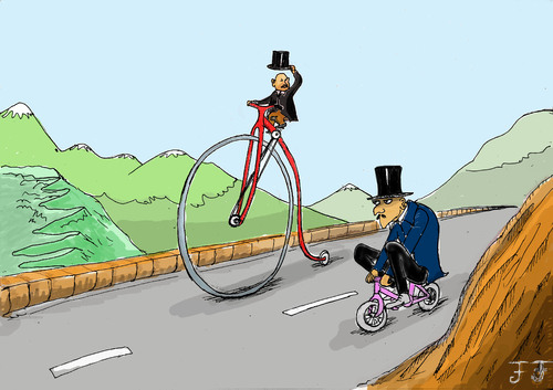 Cartoon: Bicycle (medium) by Florian France tagged bicycle,man,mountain,cartoon,velociped