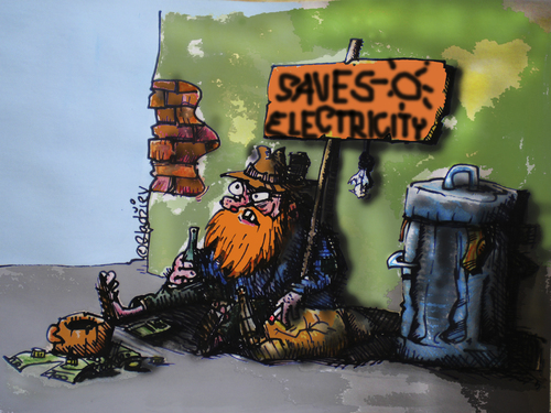 Cartoon: saves electricity! (medium) by ivo tagged wau
