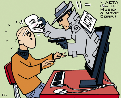 Cartoon: ACTA - Big Brother 2012 (medium) by RachelGold tagged internet,copyright,acta,anonymous