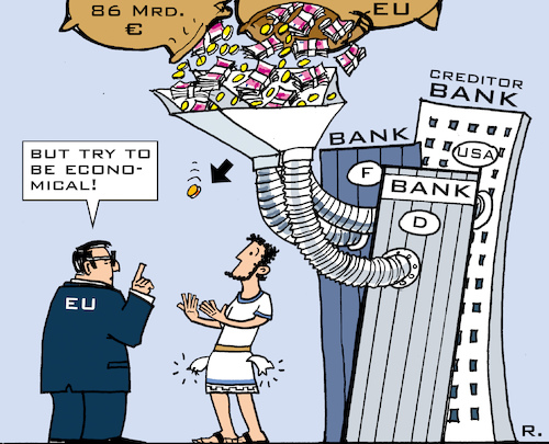 Cartoon: Greek Poverty Trap (medium) by RachelGold tagged greece,eu,crisis,grexit,economy,banks,creditors