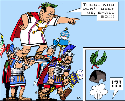 Cartoon: Italian Ex-Caesar (medium) by RachelGold tagged italy,election,berlusconi,salvani,lega,forza,fratelli,noi,con,italia,breaking,alliance,caesar,asterix,romans,centurion