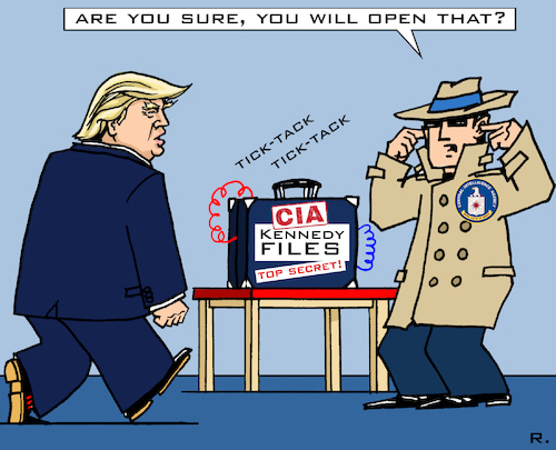 Cartoon: Kennedy-Files (medium) by RachelGold tagged usa,cia,fbi,trump,kennedy,murder,files,topsecret