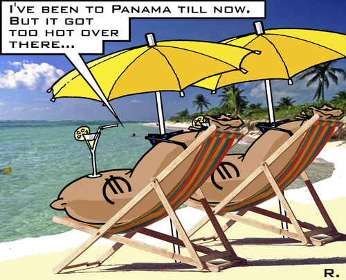 Cartoon: Offshore - Back to the Caribbean (medium) by RachelGold tagged panama,leaks,offshore,money,corruption