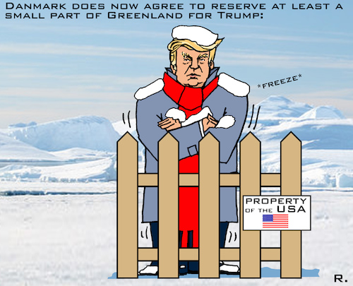 Cartoon: Some Greenland for Trump (medium) by RachelGold tagged usa,danmark,greenland,trump