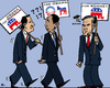 Cartoon: Desertion (small) by RachelGold tagged usa,pre,election,campaign,santorum,obama,romney,republicans,democrates