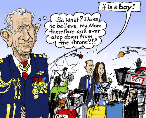 Cartoon: Heir to the Throne? (medium) by MarkusSzy tagged uk,prince,charles,elisabeth,ii,william,kate,throne,hire