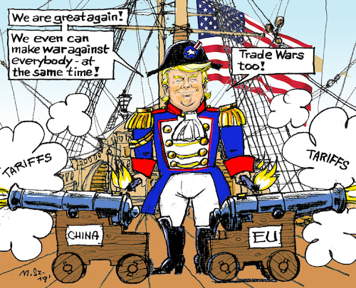 Cartoon: Trade War on many Fronts (medium) by MarkusSzy tagged usa,eu,china,world,trade,war,trump,captain,great,again,navy,galeone,cannon