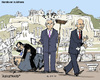Cartoon: Handover in Athens (small) by MarkusSzy tagged greece prime minister papandreou papademos venizelos samaras ruins handover