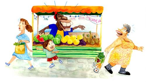 Cartoon: street market (medium) by mzdireda tagged ilustratio