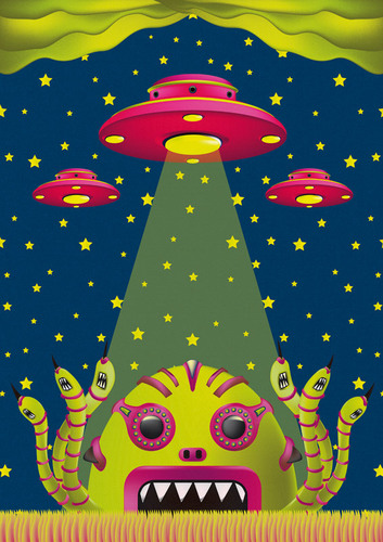 Cartoon: alien toxic invasion (medium) by elmoro tagged art,trip,psychedelic,vector,digital,illustrator,illustration