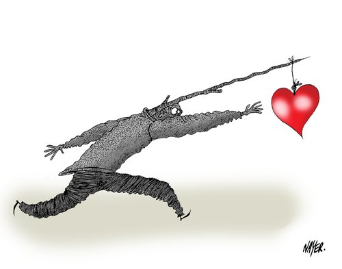 Cartoon: Chasing (medium) by Nayer tagged chasing,love,sad,happy,happiness,lost,life,man,woman