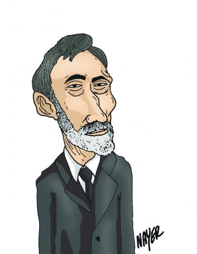 Cartoon: George Bacovia (medium) by Nayer tagged george,bacovia,romanian,symbolist,poet