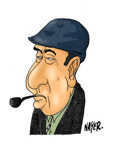 Cartoon: Pablo Neruda (medium) by Nayer tagged pablo,neruda,chile,poet,diplomat,political,figure,communism