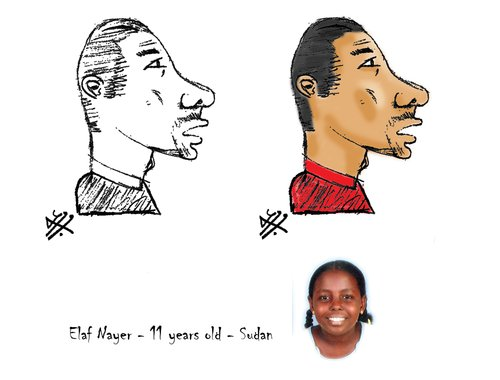 Cartoon: Talal Nayer by Elaf Nayer (medium) by Nayer tagged elaf,nayer,talal,sudan,cartoonist,portrait,young,girl