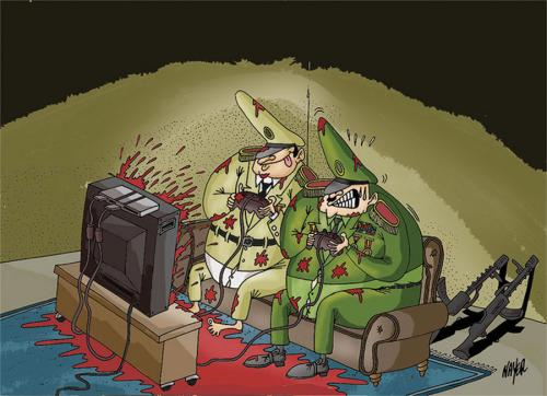 Cartoon: when the genrales play ! (medium) by Nayer tagged military,genrals